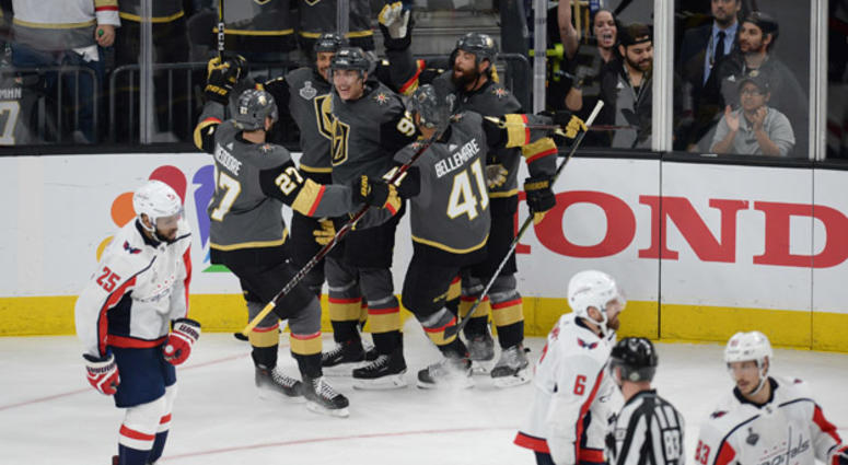 The Golden Knights' Tomas Nosek (92) celebrates with teammates after scoring a third-period goal against the Washington Capitals in Game 1 of the 2018 Stanley Cup Final on May 28, 2018, at T-Mobile Arena in Las Vegas.
