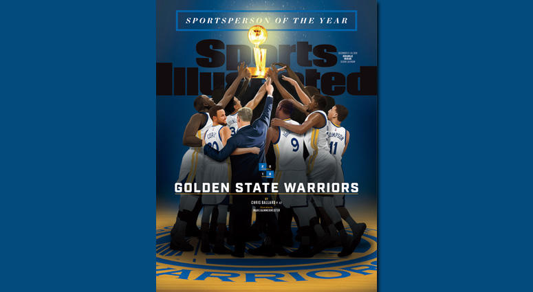 This image provided by Sports Illustrated shows the cover of the Dec. 17-24, 2018, issue featuring the Sportsperson of the Year, the Golden State Warriors NBA basketball team. The three-time NBA champion Warriors are the fourth team to receive the honor,