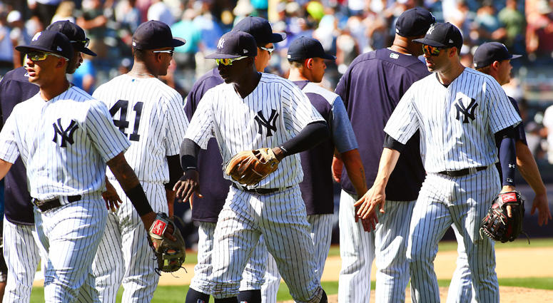 The New York Yankees react after defeating the Seattle Mariners on June 21, 2018, at Yankee Stadium.
