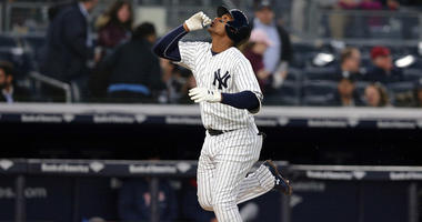 Yankees third baseman Miguel Andujar rounds the bases after hitting a solo home run against the Minnesota Twins on April 23, 2018, at Yankee Stadium.