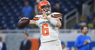Aug 30, 2018; Detroit, MI, USA; Cleveland Browns quarterback Baker Mayfield (6) warms up before a game against the Detroit Lions at Ford Field. Mandatory Credit: Tim Fuller-USA TODAY Sports