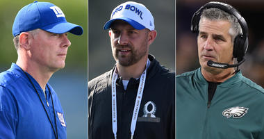 From left, Pat Shurmur, Matt Nagy and Frank Reich