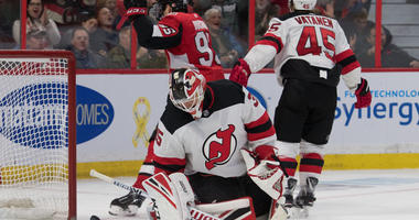 Devils goalie Cory Schneider (35) reacts to a goal scored against the Senators at Canadian Tire Centre in Ottawa, Canada.