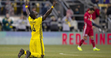 Nov 4, 2018; Columbus, OH, USA; Columbus Crew SC defender Jonathan Mensah (4) after a 1-0 victory against the New York Red Bulls at Mapfre Stadium. Mandatory Credit: Joe Maiorana-USA TODAY Sports
