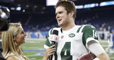 Jets quarterback Sam Darnold does a postgame interview against the Lions on Sept. 10, 2018, at Ford Field in Detroit.