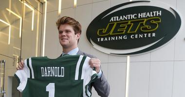 Sam Darnold poses for a photo at the Atlantic Health Jets Training Center in Florham Park, New Jersey, on April 27, 2018.