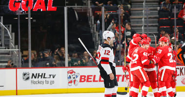 Nov 1, 2018; Detroit, MI, USA; Detroit Red Wings right wing Martin Frk (42) is congratulated by teammates after scoring in the first period against the New Jersey Devils at Little Caesars Arena. Mandatory Credit: Rick Osentoski-USA TODAY Sports