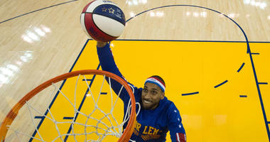 Julian McClurkin (Zeus) of the Harlem Globetrotters