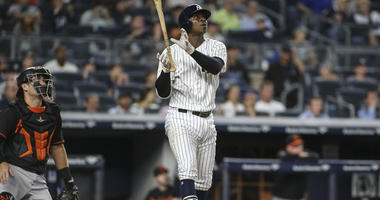 Yankees shortstop Didi Gregorius hits a two-run home run against the Orioles on Sept. 21, 2018, at Yankee Stadium.