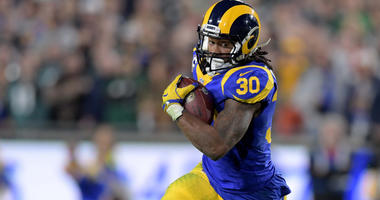 Dec 16, 2018; Los Angeles, CA, USA; Los Angeles Rams running back Todd Gurley (30) carries the ball aPhiladelphia Eagles during the first half at Los Angeles Memorial Coliseum. Mandatory Credit: Kirby Lee-USA TODAY Sports