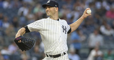 Yankees pitcher J.A. Happ pitches against the Tampa Bay Rays on Aug. 14, 2018, at Yankee Stadium.