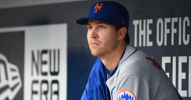 New York Mets starting pitcher Jacob deGrom in the dugout against the Atlanta Braves on Apr 21, 2018 in Atlanta, GA, USA. Mandatory Credit: Adam Hagy-USA TODAY Sports