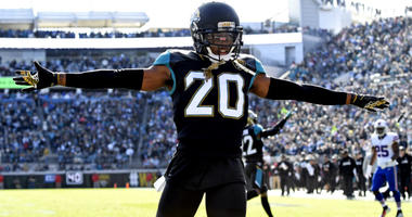 Jalen Ramsey reacts after a play during the second quarter against the Buffalo Bills in the AFC Wild Card playoff football game at EverBank Field in Jacksonville.