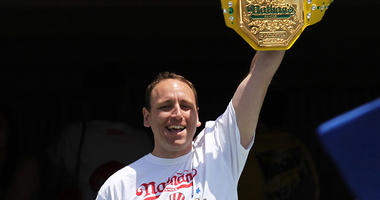 American competitive eater Joey Chestnut prior to the Axalta We Paint Winners 400 at Pocono Raceway on Jun 7, 2015.