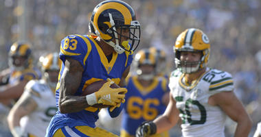 Oct 28, 2018; Los Angeles, CA, USA; Los Angeles Rams wide receiver Josh Reynolds (83) scores a during the third quarter touchdown against the Green Bay Packers at Los Angeles Memorial Coliseum. Mandatory Credit: Jake Roth-USA TODAY Sports