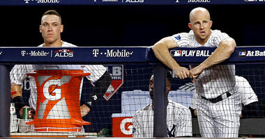 Oct 9, 2018; New York Yankees left fielder Brett Gardner and right fielder Aaron Judge in the dugout during the sixth inning in game four of the 2018 ALDS playoff baseball series at Yankee Stadium. Noah K. Murray-USA TODAY Sports