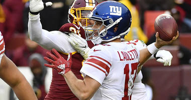 Giants quarterback Kyle Lauletta attempts a pass against the Redskins on Dec. 9, 2018, at FedEx Field in Washington.