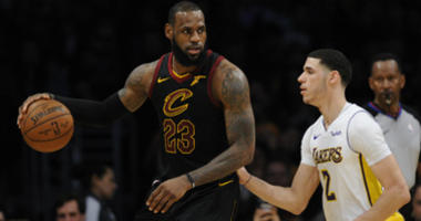 LeBron James moves the ball against Lonzo Ball during the second half at Staples Center.