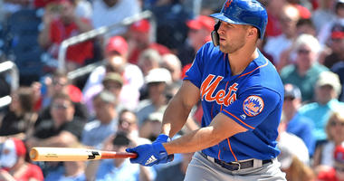 The Mets' Tim Tebow bats against the Nationals during a spring training game on March 7, 2019, at FITTEAM Ballpark of the Palm Beaches in West Palm Beach, Florida.