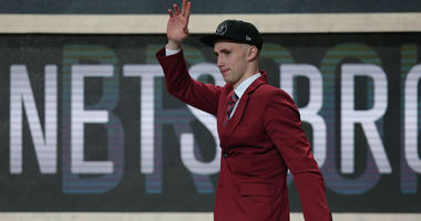 Dzanan Musa reacts after being selected as the No. 29 overall pick to the Brooklyn Nets at the NBA Draft on June 21, 2018, at the Barclays Center.