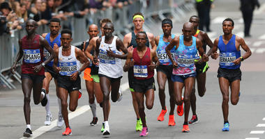 Nov 5, 2017; New York, NY, USA; Runners in the elite men division led by Ghirmay Ghebreslassie and Geoffrey Kamworor during the professional men's division at the 2017 TCS New York City Marathon. Mandatory Credit: Vincent Carchietta-USA TODAY Sports