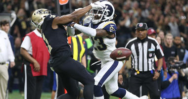 Jan 20, 2019; New Orleans, LA, USA; Los Angeles Rams defensive back Nickell Robey-Coleman breaks up a pass intended or New Orleans Saints wide receiver Tommylee Lewis during the fourth quarter of the NFC Championship game. Mandatory Credit: Chuck Cook-USA