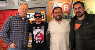 "Boomer and Gio pose with PFT Commenter and Big Cat from the ""Pardon My Take"" podcast."