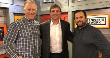 Chad Pennington poses with Boomer and Gio