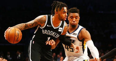 Nets guard D'Angelo Russell dribbles the ball against the Utah Jazz on Nov. 28, 2018, at the Barclays Center.