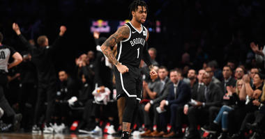 Nov 4, 2018; Brooklyn, NY, USA; Brooklyn Nets guard D'Angelo Russell (1) reacts in the fourth quarter against the Philadelphia 76ers at Barclays Center. Mandatory Credit: Catalina Fragoso-USA TODAY Sports