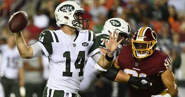 Jets quarterback Sam Darnold attempts a pass against the Washington Redskins on Aug. 16, 2018, at FedEx Field in Landover, Maryland.