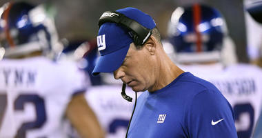 Giants coach Pat Shurmur reacts on the sideline during 34-13 loss to the Eagles on Oct. 11, 2018, at MetLife Stadium.