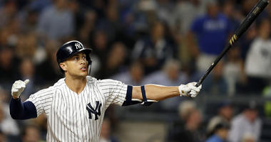 The Yankees' Giancarlo Stanton hits a grand slam against the Boston Red Sox on Sept. 20, 2018 at Yankee Stadium.