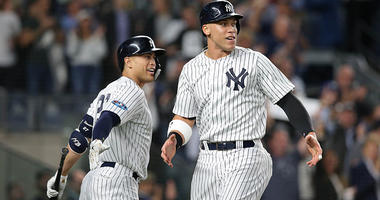 Oct 3, 2018; Yankees Aaron Judge and Giancarlo Stanton celebrate during the sixth inning against the Oakland Athletics in the 2018 American League wild card playoff baseball game. Brad Penner-USA TODAY Sports