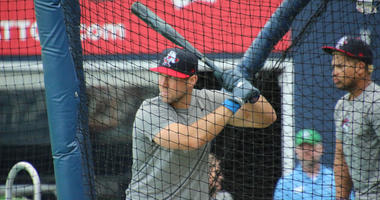 The Binghamton Rumble Ponies' Tim Tebow takes batting practice on May 7, 2018, at Dunkin' Donuts Park in Hartford, Connecticut.