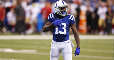 T.Y. Hilton reacts after making a 63 yard catch against the San Francisco 49ers at Lucas Oil Stadium in Indianapolis.