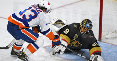 Marc-Andre Fleury makes a save against Mathew Barzal during the third period of play at T-Mobile Arena in Las Vegas.