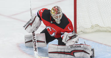 Devils goaltender Keith Kinkaid makes a save during the third period against the New York Islanders at Prudential Center.