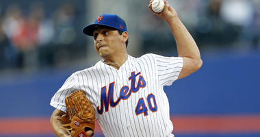 Jason Vargas pitches against the Miami Marlins during the first inning at Citi Field.