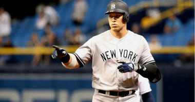 Aaron Judge reacts after hitting a single during the ninth inning against the Tampa Bay Rays at Tropicana Field