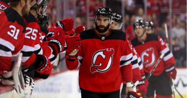 Kyle Palmieri celebrates after scoring a goal during the first period against the Washington Capitals at Prudential Center.