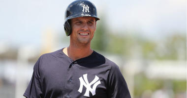 Greg Bird looks on after drawing a walk during the first inning against the Minnesota Twins at CenturyLink Sports Complex