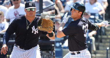 Yankees first basemen Luke Voit and Greg Bird
