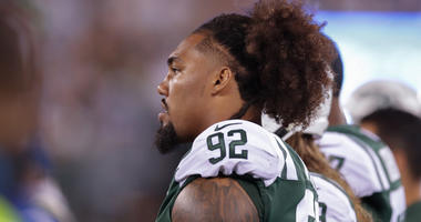 Aug 10, 2018; East Rutherford, NJ, USA; New York Jets defensive tackle Leonard Williams (92) looks on during his game against the Atlanta Falcons at MetLife Stadium. Mandatory Credit: Vincent Carchietta-USA TODAY Sports