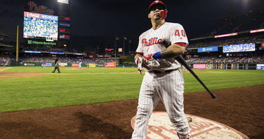 Sep 19, 2018; Philadelphia, PA, USA; Philadelphia Phillies catcher Wilson Ramos (40) walks to the plate to bat during the fourth inning against the New York Mets at Citizens Bank Park. Mandatory Credit: Bill Streicher-USA TODAY Sports