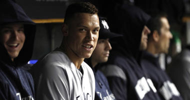 Aaron Judge sits in the Yankees' dugout during a game on April 13, 2018, against the Tigers at Comerica Park in Detroit.