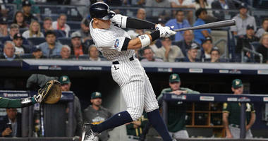 Yankees right fielder Aaron Judge hits a two-RBI home run against the Oakland Athletics in the 2018 American League wild-card playoff game on Oct. 3, 2018, at Yankee Stadium.