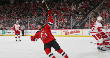 Blake Coleman of the New Jersey Devils celebrates his short-handed goal against the Detroit Red Wings on Nov. 17, 2018, at the Prudential Center in Newark.