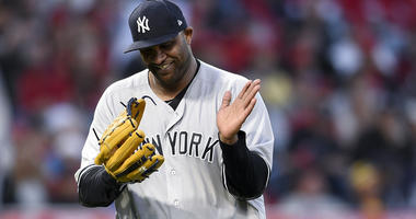 The Yankees' CC Sabathia reacts while leaving the field during the seventh inning against the Los Angeles Angels on April 29, 2018, at Angel Stadium in Anaheim, California.