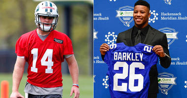 Jets quarterback Sam Darnold and Giants running back Saquon Barkley